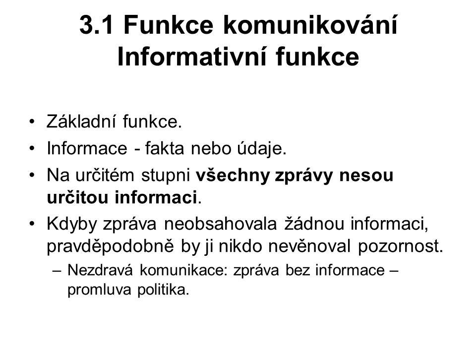 3.1 Funkce komunikování Informativní funkce Základní funkce.