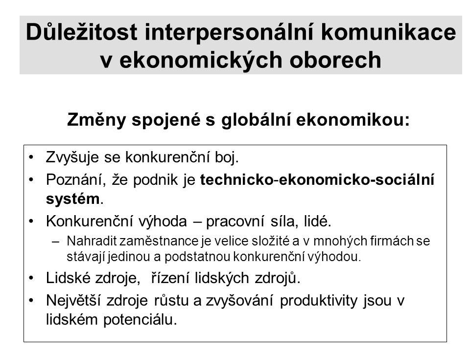 Důležitost interpersonální komunikace v ekonomických oborech Zvyšuje se konkurenční boj.