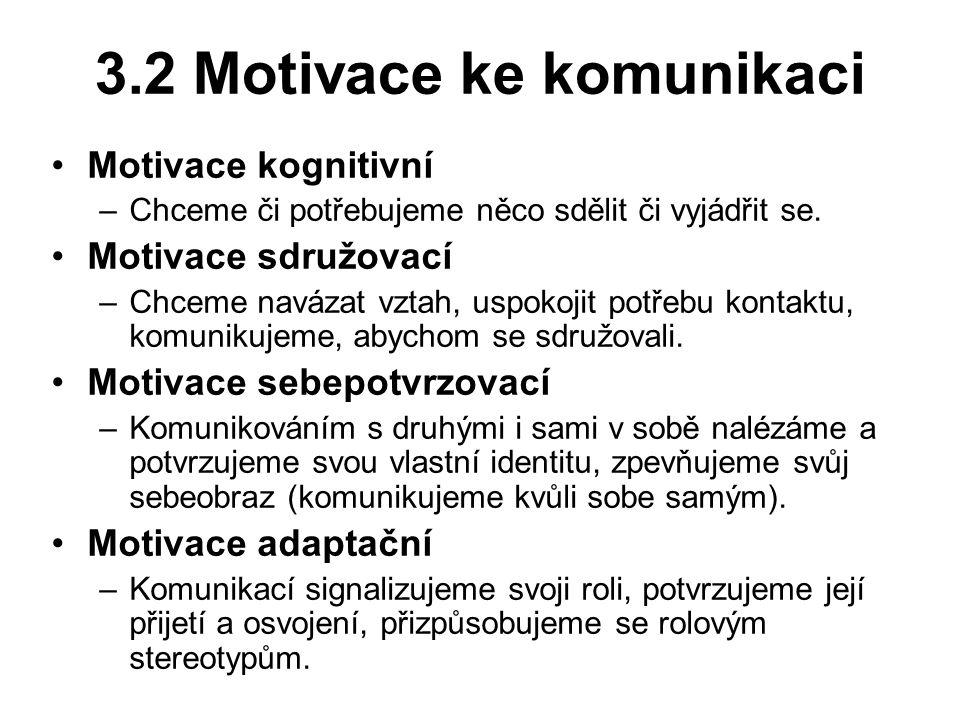 3.2 Motivace ke komunikaci Motivace kognitivní –Chceme či potřebujeme něco sdělit či vyjádřit se.