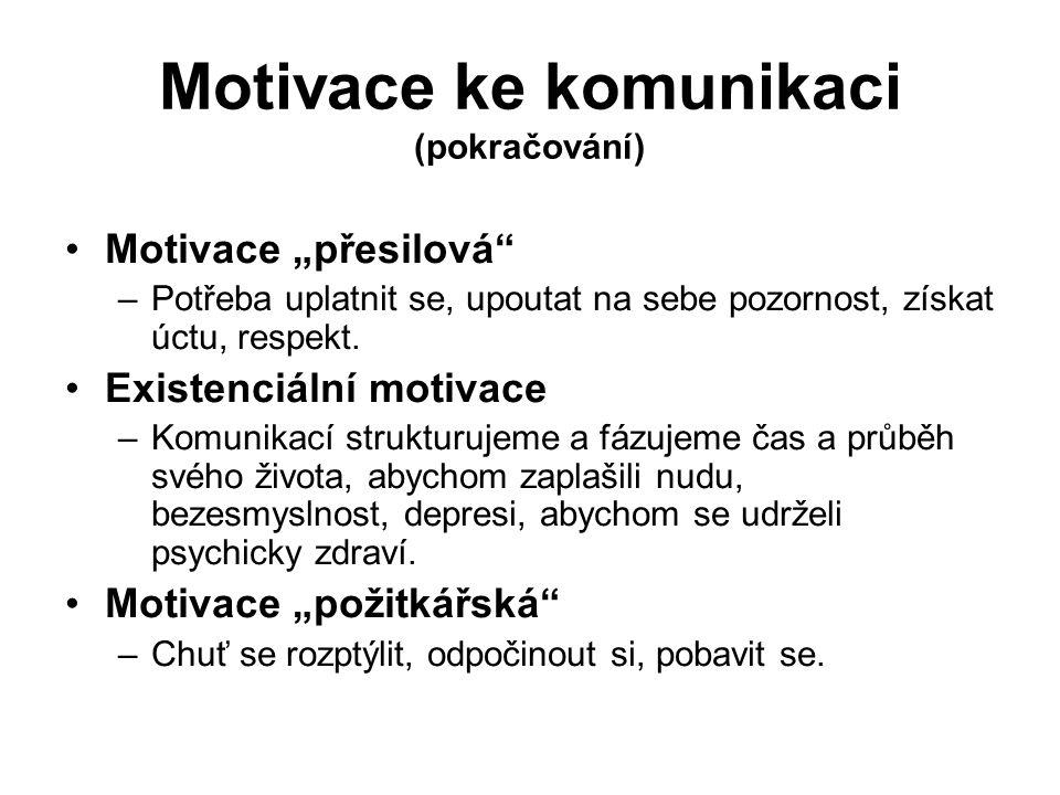 """Motivace ke komunikaci (pokračování) Motivace """"přesilová –Potřeba uplatnit se, upoutat na sebe pozornost, získat úctu, respekt."""