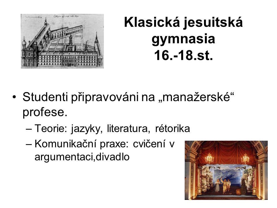 """Klasická jesuitská gymnasia 16.-18.st. Studenti připravováni na """"manažerské profese."""