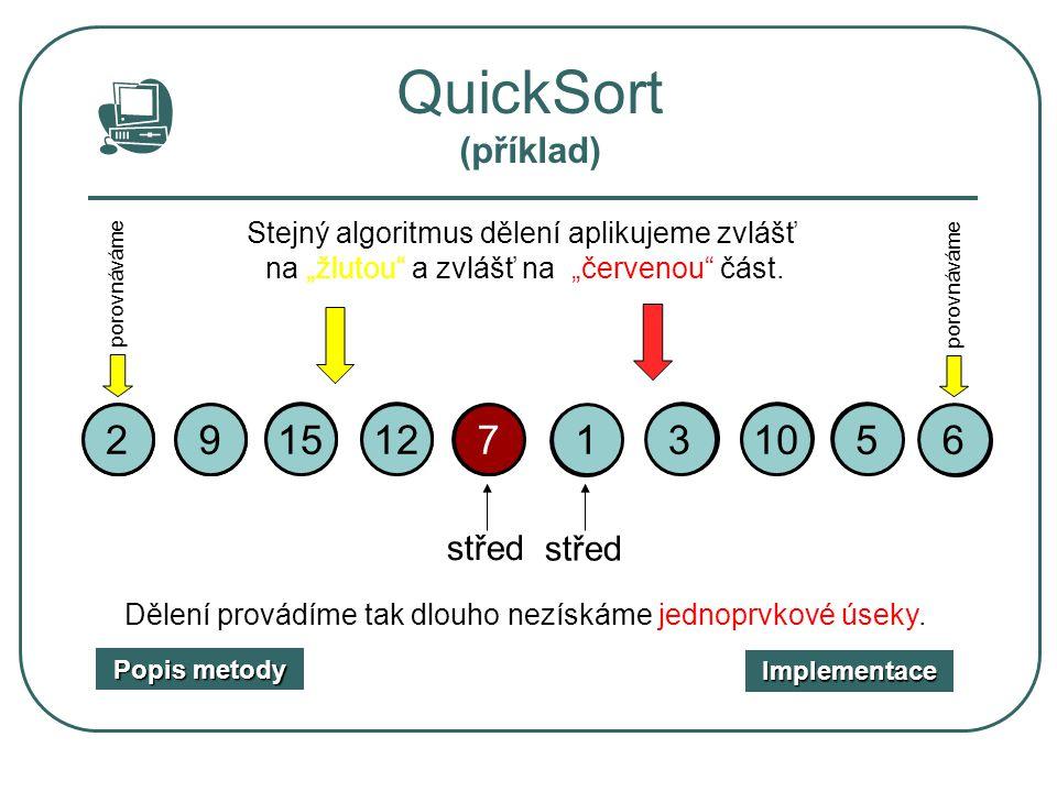 """7 porovnáváme 1 6 9 10 9 221 35 QuickSort (příklad) 10 střed 15 12 61553127 střed Stejný algoritmus dělení aplikujeme zvlášť na """"žlutou"""" a zvlášť na """""""