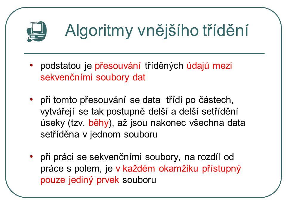 Algoritmy vnějšího třídění podstatou je přesouvání tříděných údajů mezi sekvenčními soubory dat při tomto přesouvání se data třídí po částech, vytváře