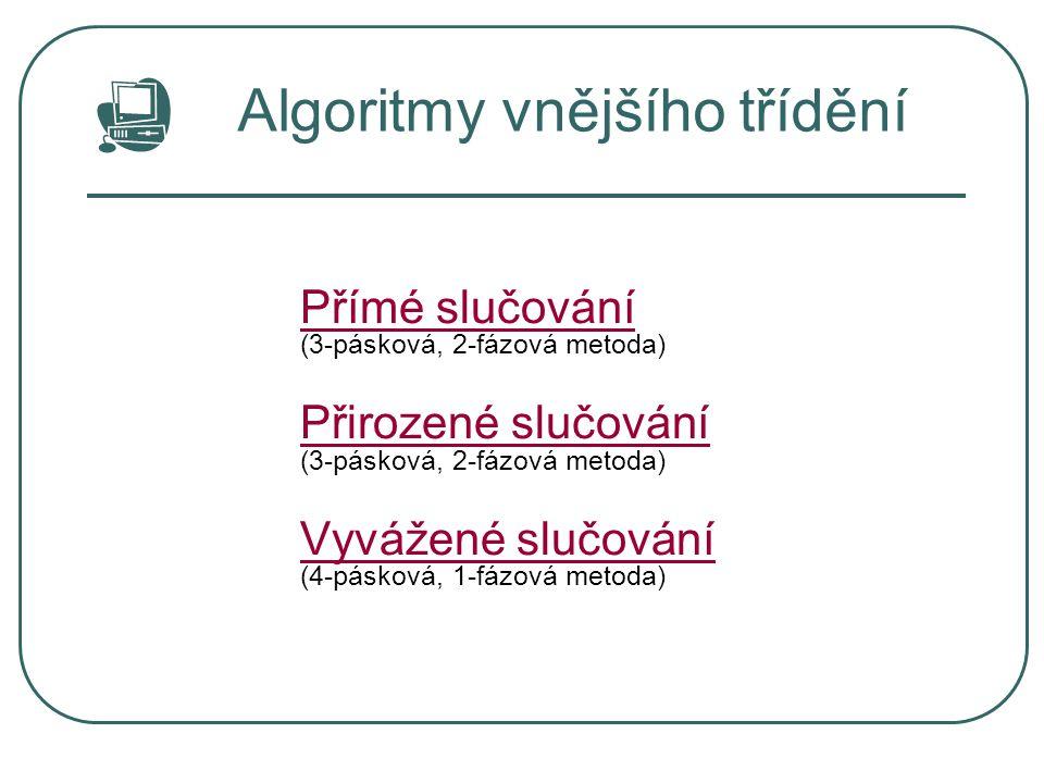 Algoritmy vnějšího třídění Přímé slučování Přímé slučování (3-pásková, 2-fázová metoda) Přirozené slučování Přirozené slučování (3-pásková, 2-fázová m