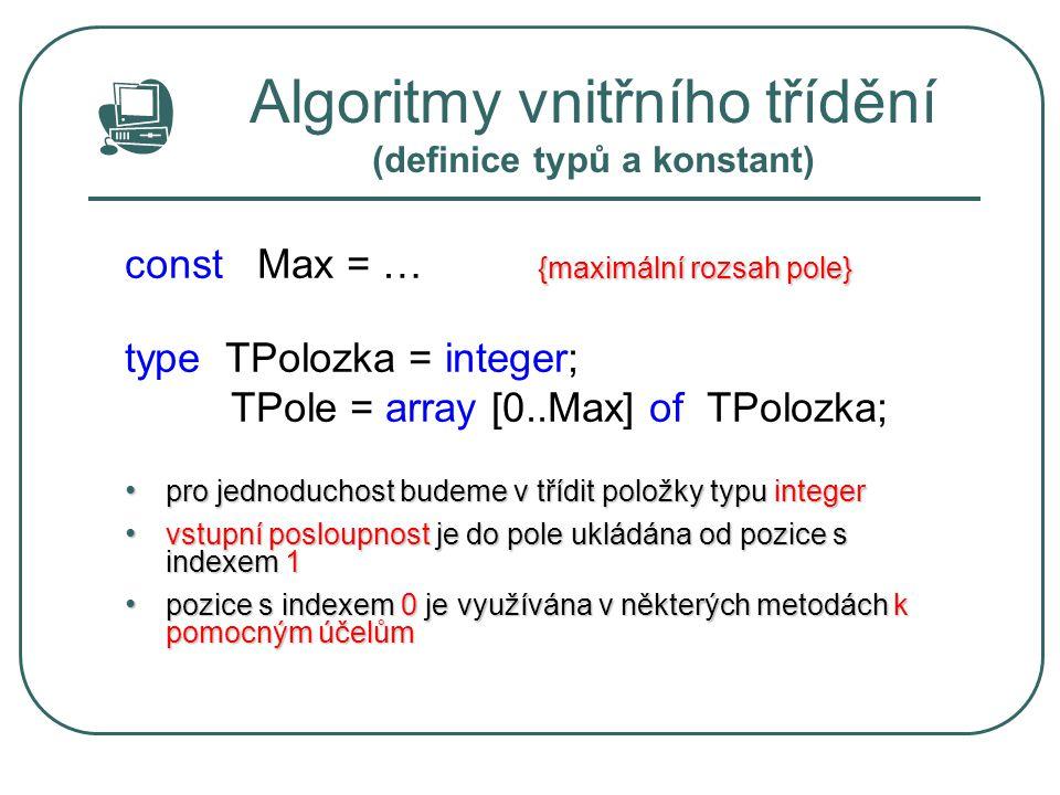 Algoritmy vnitřního třídění (definice typů a konstant) {maximální rozsah pole} const Max = … {maximální rozsah pole} type TPolozka = integer; TPole =