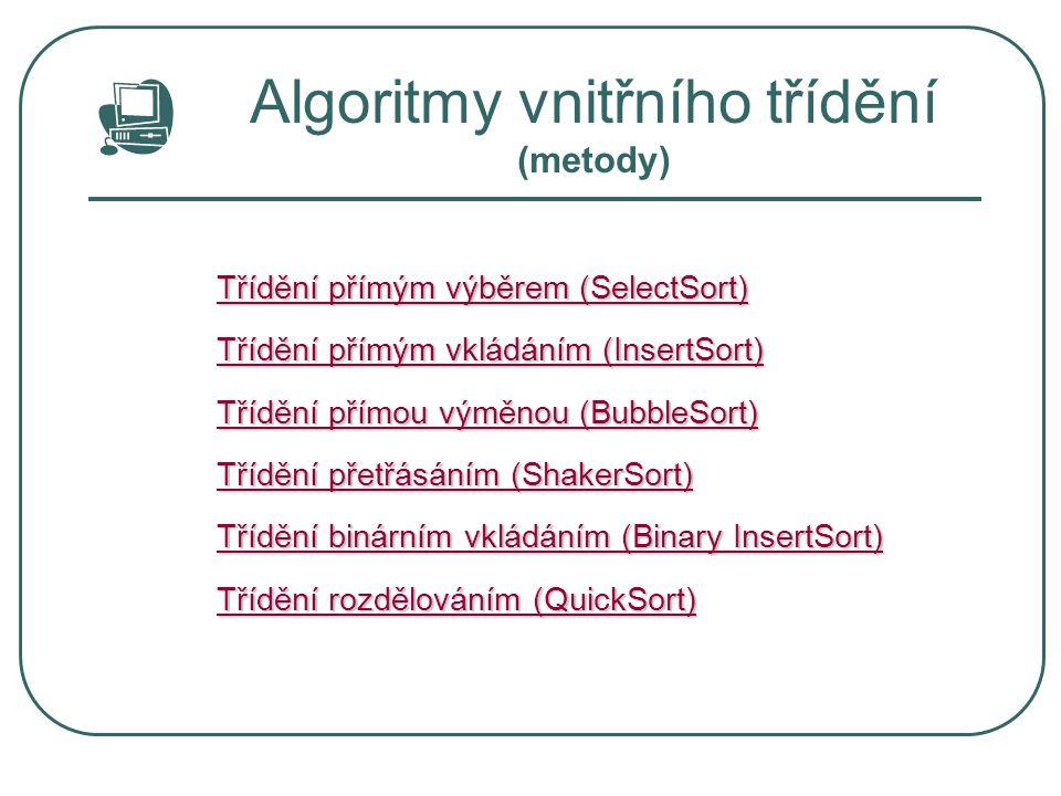 Algoritmy vnitřního třídění (metody) Třídění přímým výběrem (SelectSort) Třídění přímým výběrem (SelectSort) Třídění přímým vkládáním (InsertSort) Tří