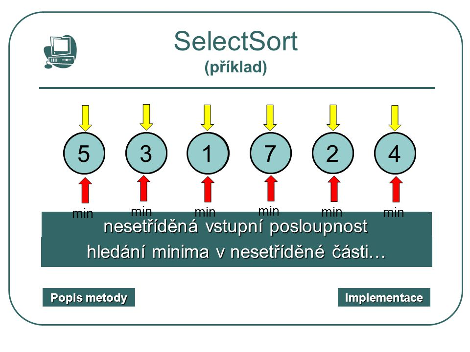 Binary InsertSort (implementace) procedure BinaryInsert (var A : TPole; N : integer); {N…počet prvků pole} var i, j, m, l, r, x : integer; begin for i:=2 to N do {zatřiďujeme číslo z pozice i} begin x:=A[i]; l:=1; r:=i-1; {nastavení levého a pravého ukazatele} while l<=r do begin {cyklus binárního vyhledání} m:=(l+r) div 2; if x<A[m] then r:=m-1 else l:=m+1; end for j:= i-1 downto l do A[j+1]:= A[i];{posun části pole} A[l]:=x; {zařazení} end end; Příklad Popis metody Popis metody