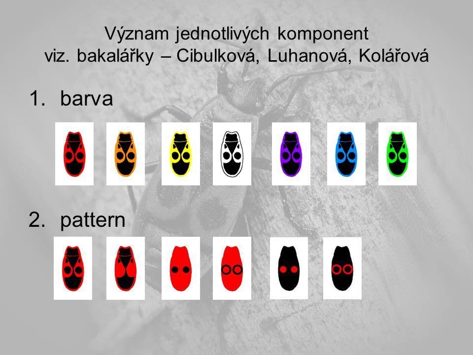Význam jednotlivých komponent viz. bakalářky – Cibulková, Luhanová, Kolářová 1.barva 2.pattern