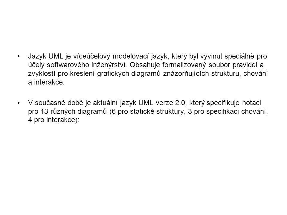 Jazyk UML je víceúčelový modelovací jazyk, který byl vyvinut speciálně pro účely softwarového inženýrství.