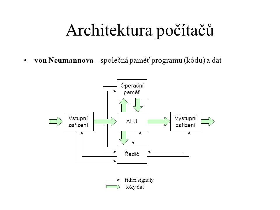 Architektura počítačů harvardská – oddělené paměti programu (kódu) a dat řídící signály toky dat ALU Datová paměť Řadič Vstupní zařízení Výstupní zařízení Paměť programu