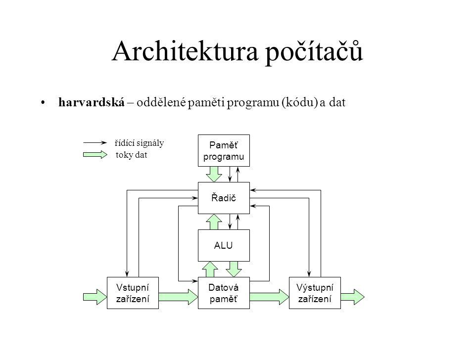 Architektura počítačů harvardská – oddělené paměti programu (kódu) a dat řídící signály toky dat ALU Datová paměť Řadič Vstupní zařízení Výstupní zaří