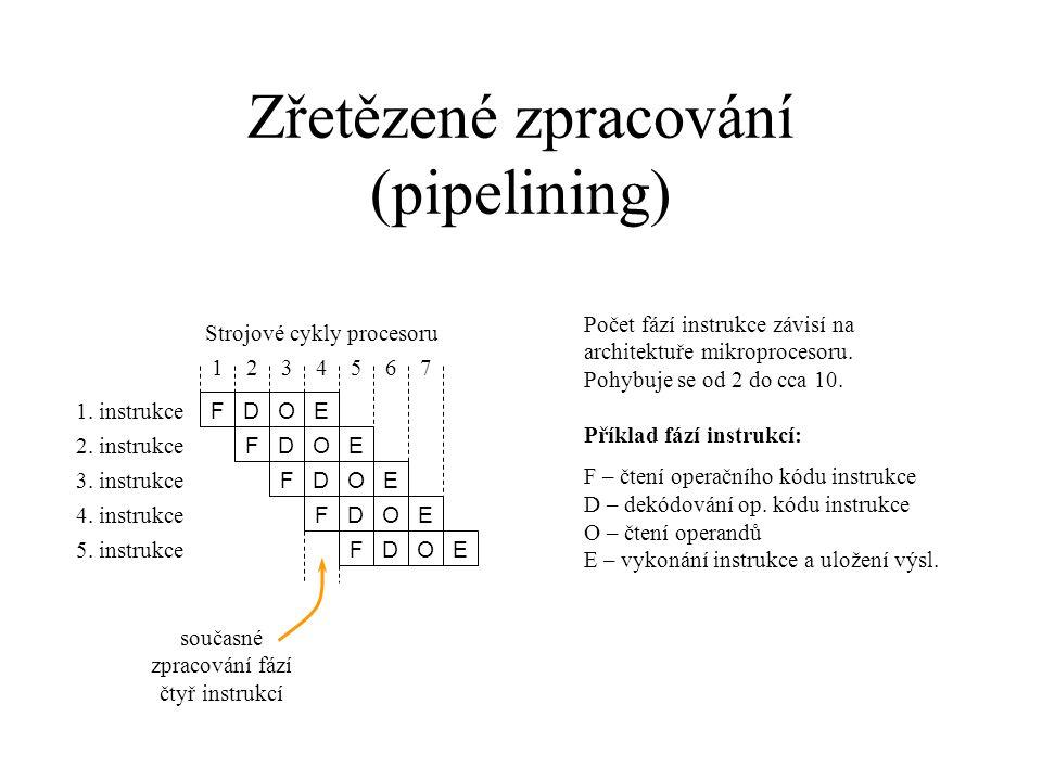 Zřetězené zpracování (pipelining) Počet fází instrukce závisí na architektuře mikroprocesoru. Pohybuje se od 2 do cca 10. Příklad fází instrukcí: F –