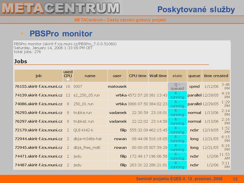 METACentrum – Český národní gridový projekt Seminář projektu EGEE-II, 12.