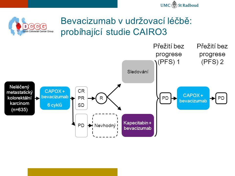 Bevacizumab v udržovací léčbě: probíhající studie CAIRO3 Přežití bez progrese (PFS) 1 Neléčený metastatický kolorektální karcinom (n=635) Kapecitabin