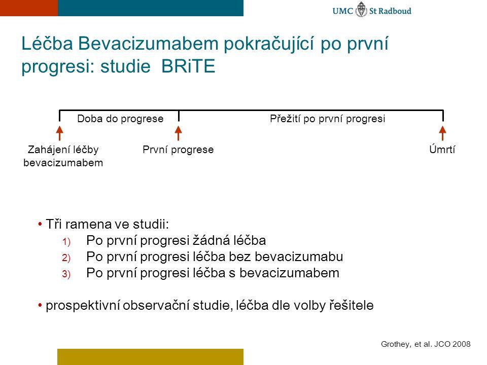 Léčba Bevacizumabem pokračující po první progresi: studie BRiTE Grothey, et al. JCO 2008 Tři ramena ve studii: 1) Po první progresi žádná léčba 2) Po