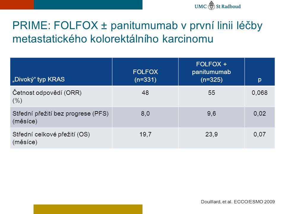 """PRIME: FOLFOX ± panitumumab v první linii léčby metastatického kolorektálního karcinomu """"Divoký"""" typ KRAS FOLFOX (n=331) FOLFOX + panitumumab (n=325)p"""