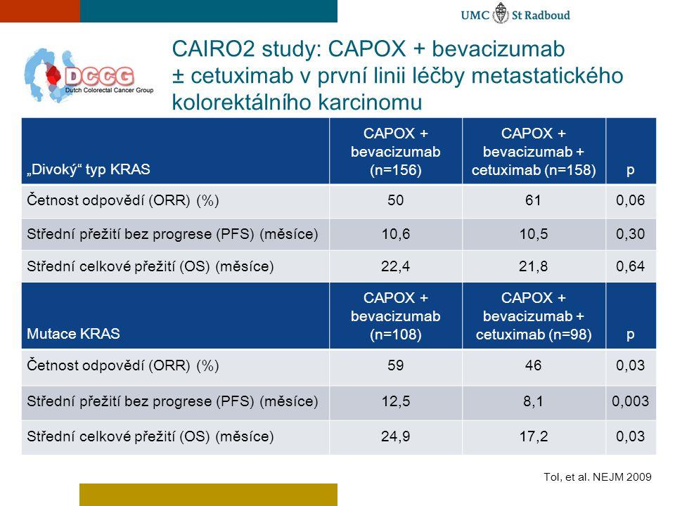Mutace KRAS CAPOX + bevacizumab (n=108) CAPOX + bevacizumab + cetuximab (n=98)p Četnost odpovědí (ORR) (%)59460,03 Střední přežití bez progrese (PFS)