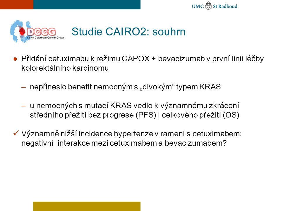 """Studie CAIRO2: souhrn ● Přidání cetuximabu k režimu CAPOX + bevacizumab v první linii léčby kolorektálního karcinomu – nepřineslo benefit nemocným s """""""