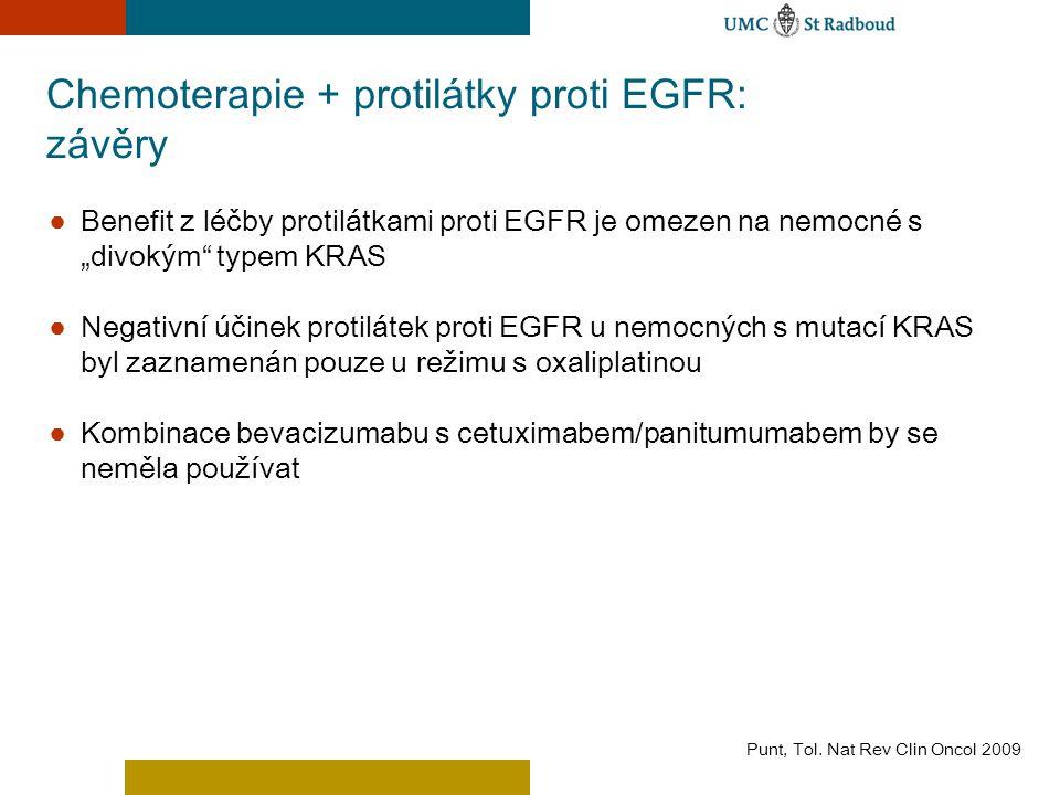 """Chemoterapie + protilátky proti EGFR: závěry ● Benefit z léčby protilátkami proti EGFR je omezen na nemocné s """"divokým"""" typem KRAS ● Negativní účinek"""