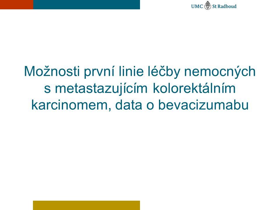 Možnosti první linie léčby nemocných s metastazujícím kolorektálním karcinomem, data o bevacizumabu