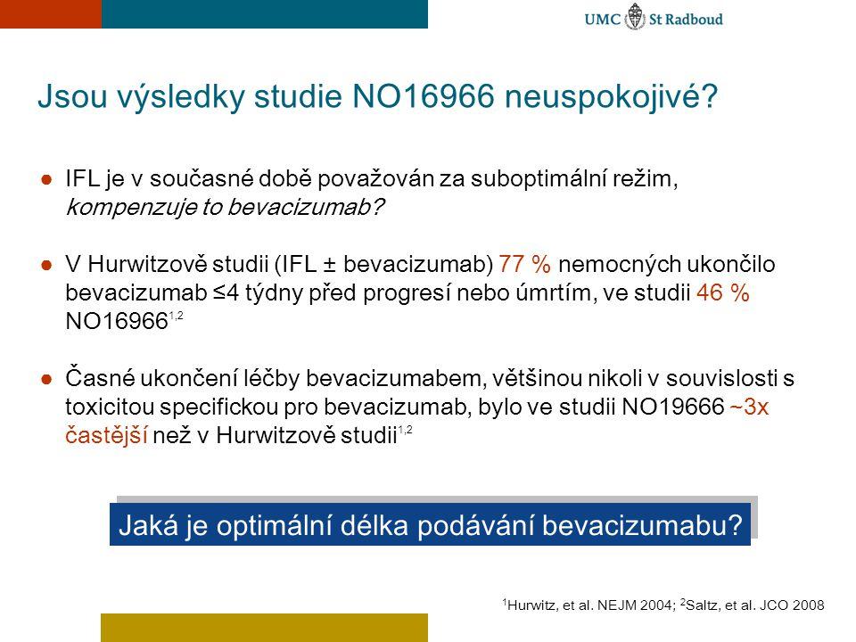 Jsou výsledky studie NO16966 neuspokojivé? ● IFL je v současné době považován za suboptimální režim, kompenzuje to bevacizumab? ● V Hurwitzově studii