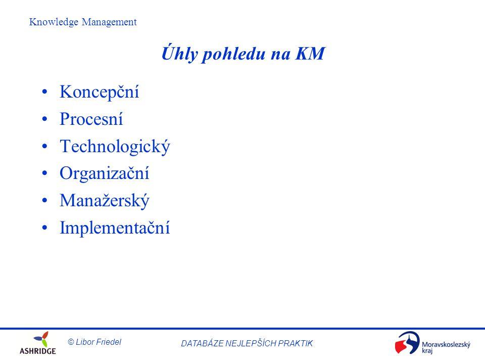 © Libor Friedel Knowledge Management DATABÁZE NEJLEPŠÍCH PRAKTIK Úhly pohledu na KM Koncepční Procesní Technologický Organizační Manažerský Implementační