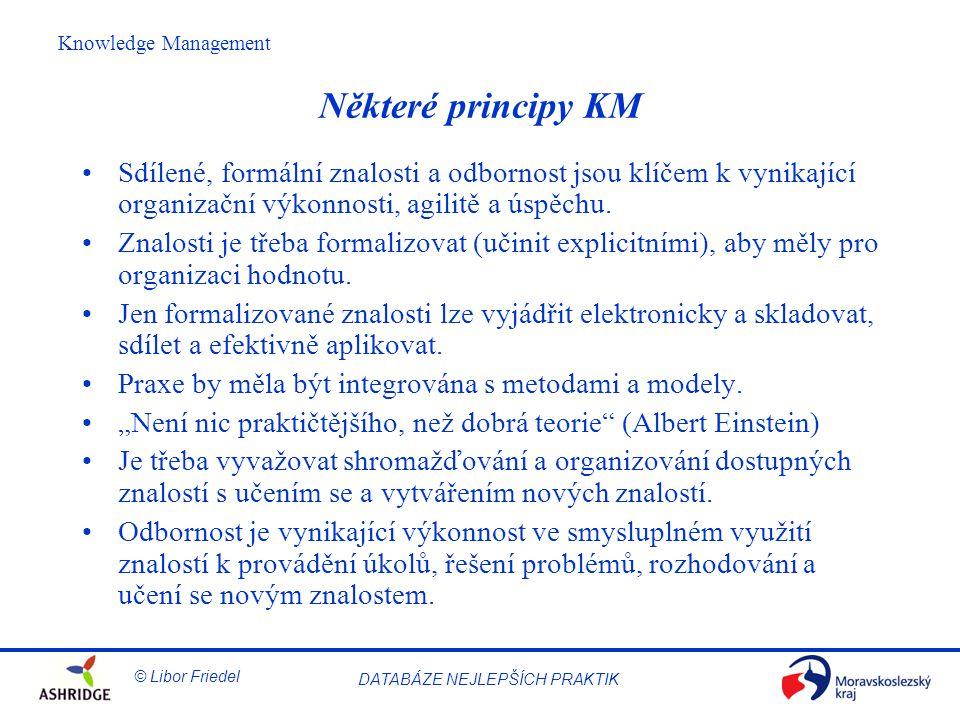 © Libor Friedel Knowledge Management DATABÁZE NEJLEPŠÍCH PRAKTIK Některé principy KM Sdílené, formální znalosti a odbornost jsou klíčem k vynikající organizační výkonnosti, agilitě a úspěchu.