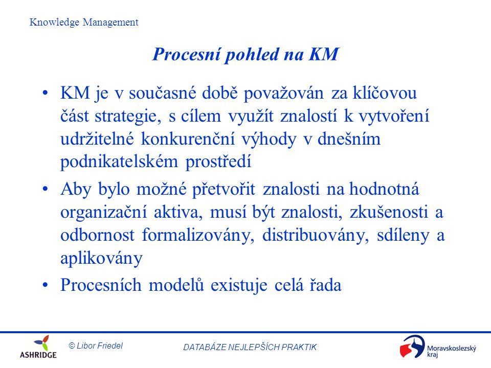 © Libor Friedel Knowledge Management DATABÁZE NEJLEPŠÍCH PRAKTIK Procesní pohled na KM KM je v současné době považován za klíčovou část strategie, s cílem využít znalostí k vytvoření udržitelné konkurenční výhody v dnešním podnikatelském prostředí Aby bylo možné přetvořit znalosti na hodnotná organizační aktiva, musí být znalosti, zkušenosti a odbornost formalizovány, distribuovány, sdíleny a aplikovány Procesních modelů existuje celá řada