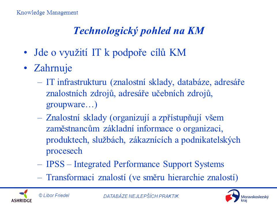 © Libor Friedel Knowledge Management DATABÁZE NEJLEPŠÍCH PRAKTIK Technologický pohled na KM Jde o využití IT k podpoře cílů KM Zahrnuje –IT infrastrukturu (znalostní sklady, databáze, adresáře znalostních zdrojů, adresáře učebních zdrojů, groupware…) –Znalostní sklady (organizují a zpřístupňují všem zaměstnancům základní informace o organizaci, produktech, službách, zákaznících a podnikatelských procesech –IPSS – Integrated Performance Support Systems –Transformaci znalostí (ve směru hierarchie znalostí)