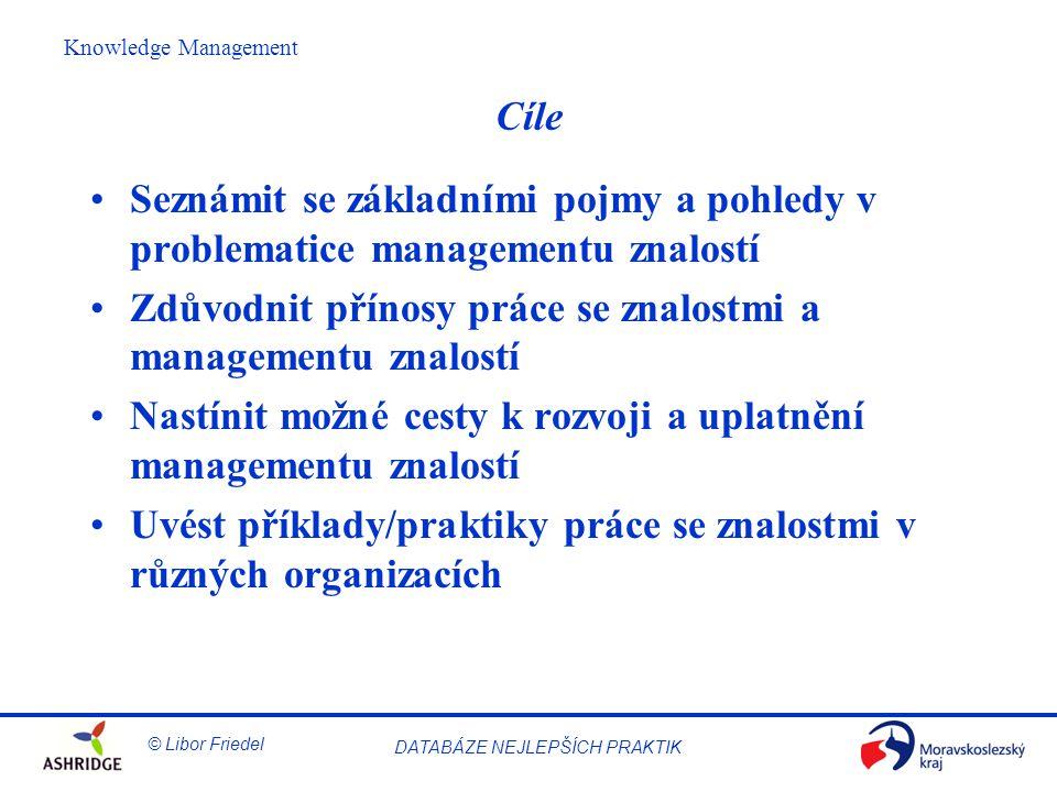 © Libor Friedel Knowledge Management DATABÁZE NEJLEPŠÍCH PRAKTIK Koncepty výtečnosti (excelence) Výtečnost (excelence) = vynikající praktika v řízení organizace a dosahování výsledků, vše na základě souboru 8 zásadních konceptů: 1.