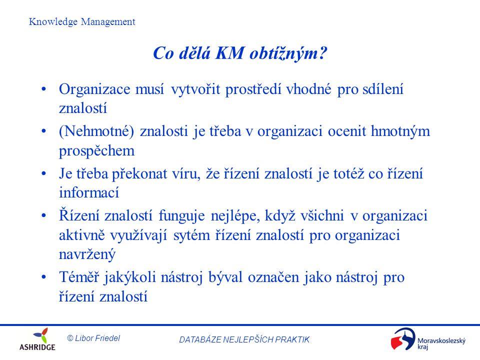 © Libor Friedel Knowledge Management DATABÁZE NEJLEPŠÍCH PRAKTIK Co dělá KM obtížným.