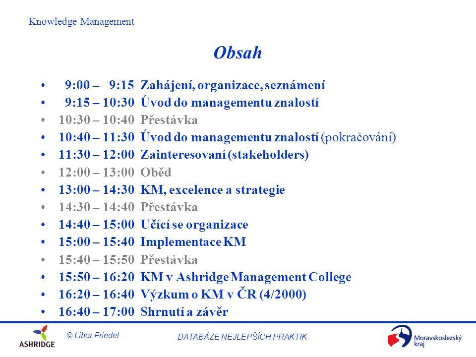 © Libor Friedel Knowledge Management DATABÁZE NEJLEPŠÍCH PRAKTIK Obsah 9:00 – 9:15 Zahájení, organizace, seznámení 9:15 – 10:30 Úvod do managementu znalostí 10:30 – 10:40 Přestávka 10:40 – 11:30 Úvod do managementu znalostí (pokračování) 11:30 – 12:00 Zainteresovaní (stakeholders) 12:00 – 13:00 Oběd 13:00 – 14:30 KM, excelence a strategie 14:30 – 14:40 Přestávka 14:40 – 15:00 Učící se organizace 15:00 – 15:40 Implementace KM 15:40 – 15:50 Přestávka 15:50 – 16:20 KM v Ashridge Management College 16:20 – 16:40 Výzkum o KM v ČR (4/2000) 16:40 – 17:00 Shrnutí a závěr