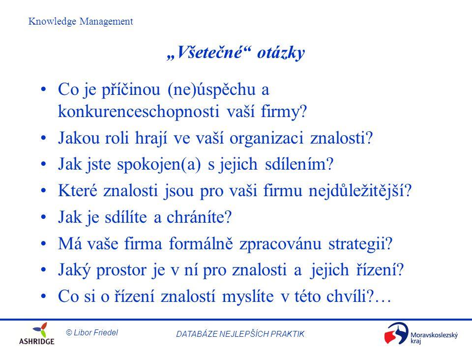 © Libor Friedel Knowledge Management DATABÁZE NEJLEPŠÍCH PRAKTIK 9.