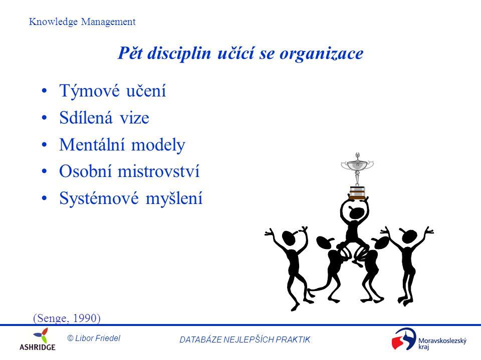 © Libor Friedel Knowledge Management DATABÁZE NEJLEPŠÍCH PRAKTIK Pět disciplin učící se organizace Týmové učení Sdílená vize Mentální modely Osobní mistrovství Systémové myšlení (Senge, 1990)