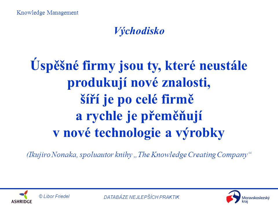 """© Libor Friedel Knowledge Management DATABÁZE NEJLEPŠÍCH PRAKTIK Východisko Úspěšné firmy jsou ty, které neustále produkují nové znalosti, šíří je po celé firmě a rychle je přeměňují v nové technologie a výrobky (Ikujiro Nonaka, spoluautor knihy """"The Knowledge Creating Company"""