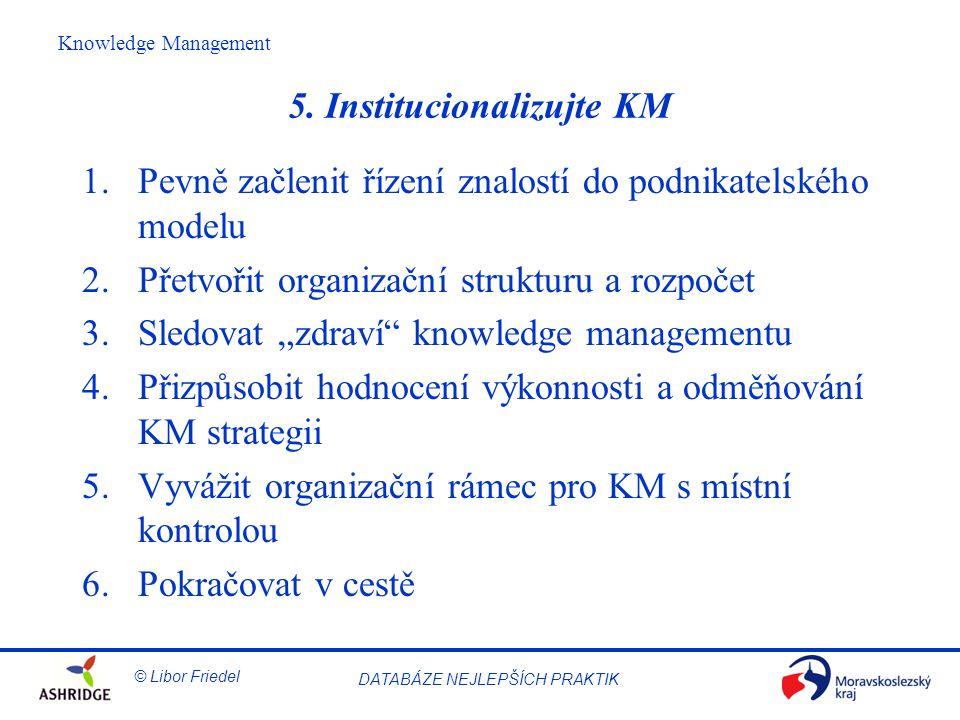 © Libor Friedel Knowledge Management DATABÁZE NEJLEPŠÍCH PRAKTIK 5.