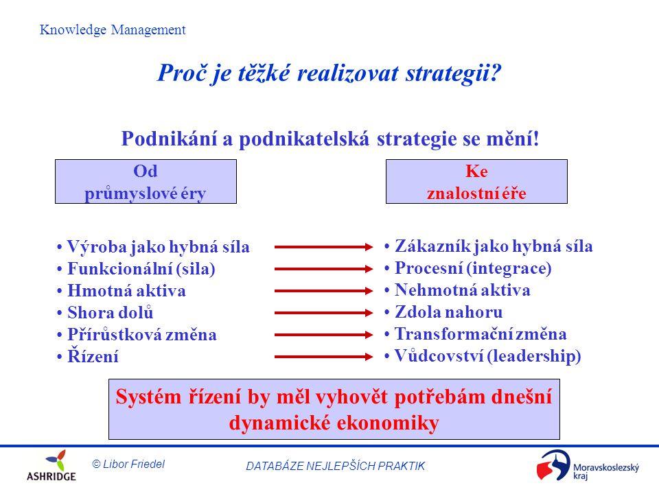 © Libor Friedel Knowledge Management DATABÁZE NEJLEPŠÍCH PRAKTIK Měření a hodnocení IC Dobrá měřítka poskytují zaměření, stanoví normy a zpřístupňují cíle 3 obecné kategorie měřítek –Výsledky (měřítka minulosti) –Procesy (měřítka přítomnosti) –Zdroje (měřítka budoucnosti)