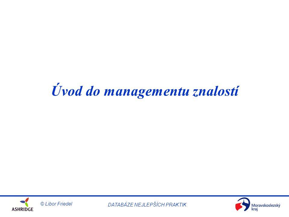 © Libor Friedel Knowledge Management DATABÁZE NEJLEPŠÍCH PRAKTIK Strategie a management Strategie dlouhodobě určuje směr a rozsah aktivit organizace.