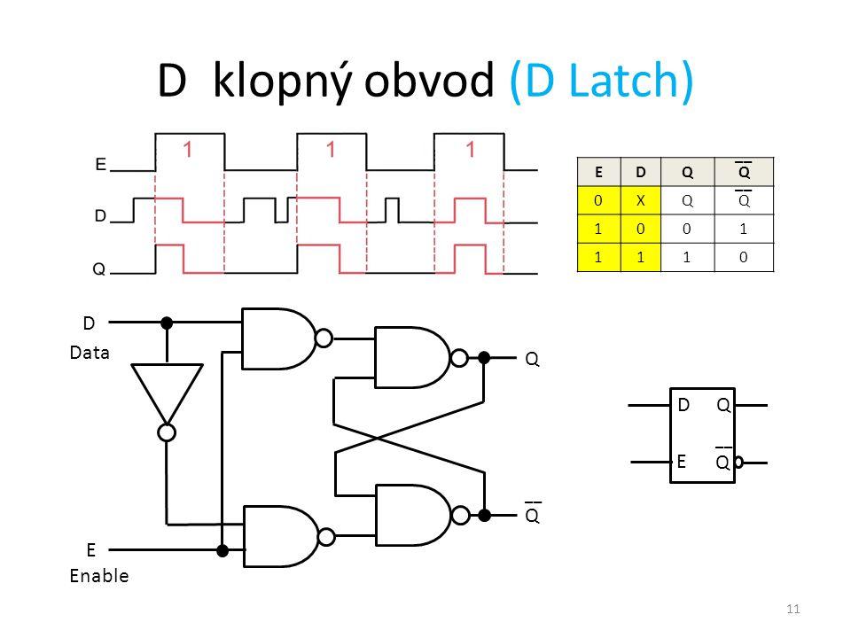 11 D klopný obvod (D Latch) Q Q __ D E Data Enable EDQQ 0XQQ 1001 1110 __ D E Q Q