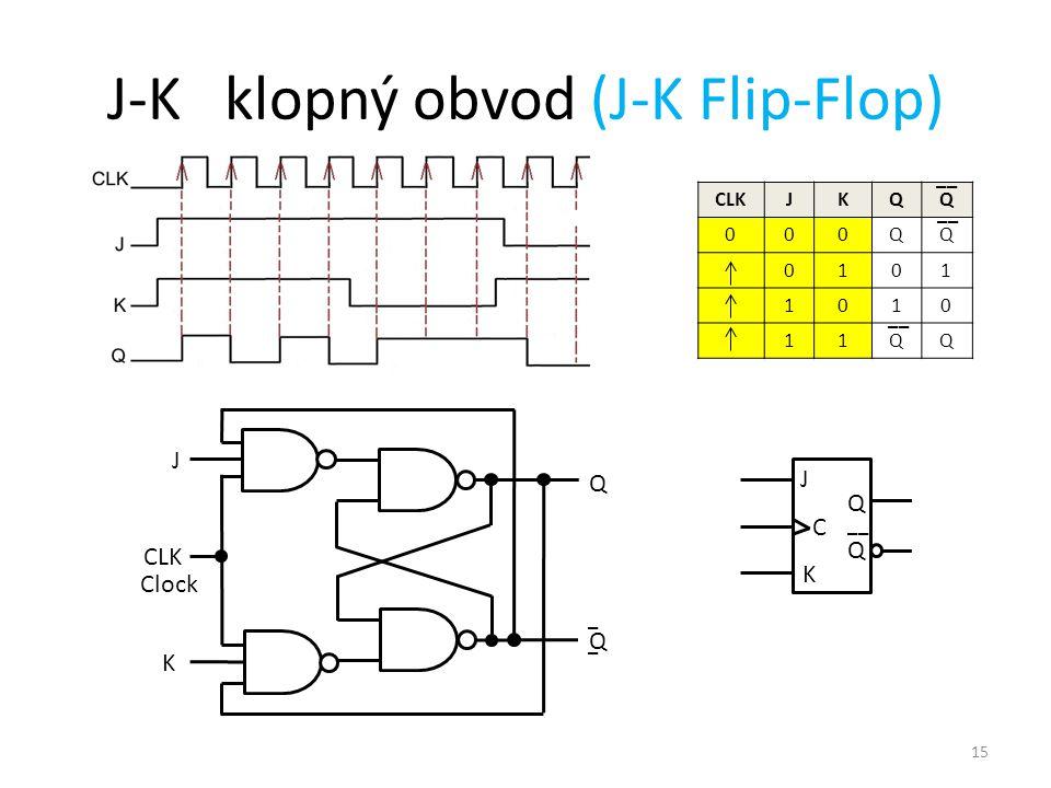 15 J-K klopný obvod (J-K Flip-Flop) CLKJKQQ 000QQ 0101 1010 11QQ __ J C Q Q K Q Q _ J Clock CLK K