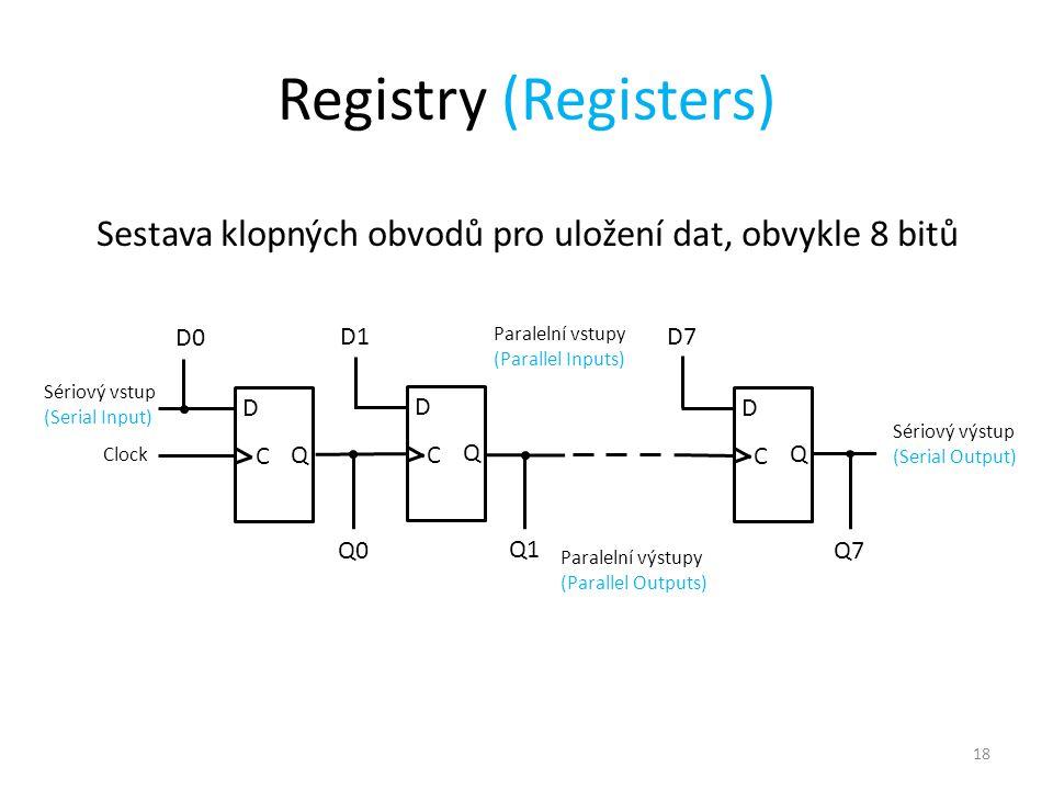 18 Registry (Registers) Sestava klopných obvodů pro uložení dat, obvykle 8 bitů D C Q D C Q D C Q D0 Q0 D1 Q1 D7 Q7 Clock Paralelní výstupy (Parallel Outputs) Paralelní vstupy (Parallel Inputs) Sériový vstup (Serial Input) Sériový výstup (Serial Output)