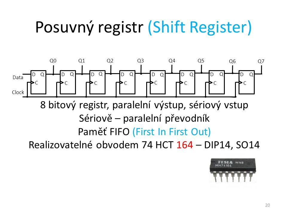 20 Posuvný registr (Shift Register) 8 bitový registr, paralelní výstup, sériový vstup Sériově – paralelní převodník Paměť FIFO (First In First Out) Realizovatelné obvodem 74 HCT 164 – DIP14, SO14 D C Q0 Clock QD C D C Q2 D Q C D C Q4 Q DQ C Q5 D Q C Q6 DQ C Q7 Data Q1 Q Q Q3