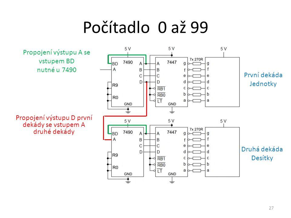 27 Počítadlo 0 až 99 Propojení výstupu A se vstupem BD nutné u 7490 Propojení výstupu D první dekády se vstupem A druhé dekády První dekáda Jednotky D