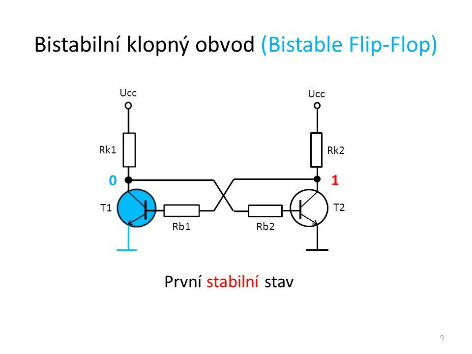 9 Ucc T1 T2 Rk1 Rk2 Rb1 Rb2 1 0 První stabilní stav Bistabilní klopný obvod (Bistable Flip-Flop)