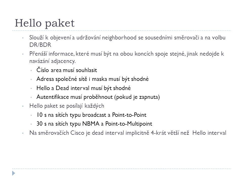 Hello paket Slouží k objevení a udržování neighborhood se sousedními směrovači a na volbu DR/BDR Přenáší informace, které musí být na obou koncích spo