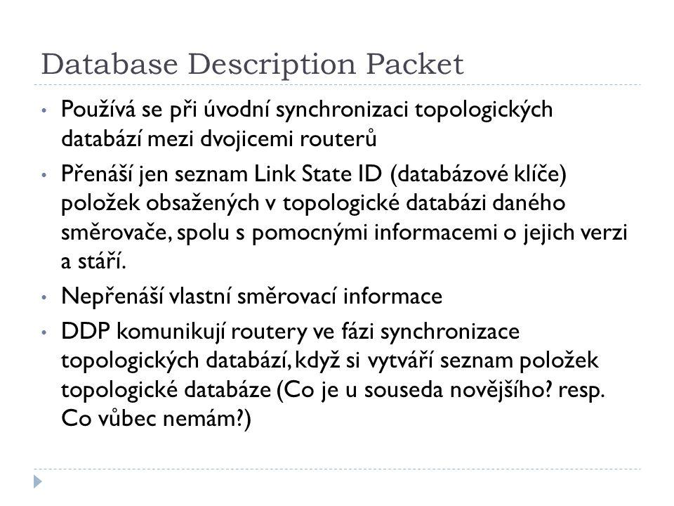 Database Description Packet Používá se při úvodní synchronizaci topologických databází mezi dvojicemi routerů Přenáší jen seznam Link State ID (databá