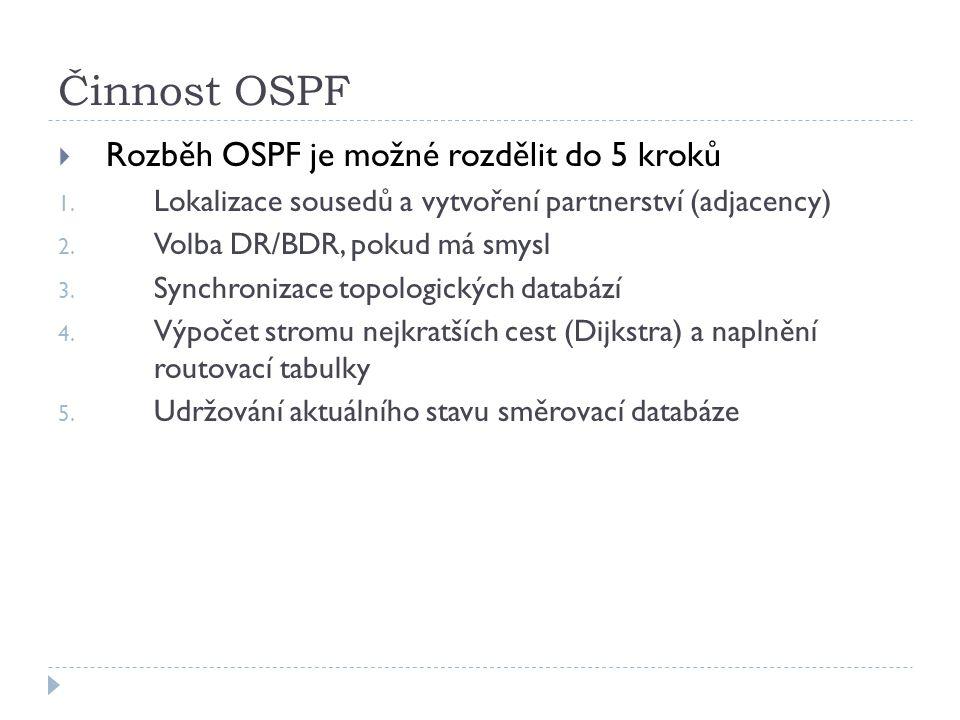 Činnost OSPF  Rozběh OSPF je možné rozdělit do 5 kroků 1. Lokalizace sousedů a vytvoření partnerství (adjacency) 2. Volba DR/BDR, pokud má smysl 3. S