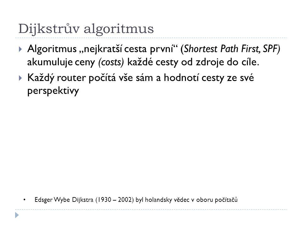 """Dijkstrův algoritmus  Algoritmus """"nejkratší cesta první"""" (Shortest Path First, SPF) akumuluje ceny (costs) každé cesty od zdroje do cíle.  Každý rou"""