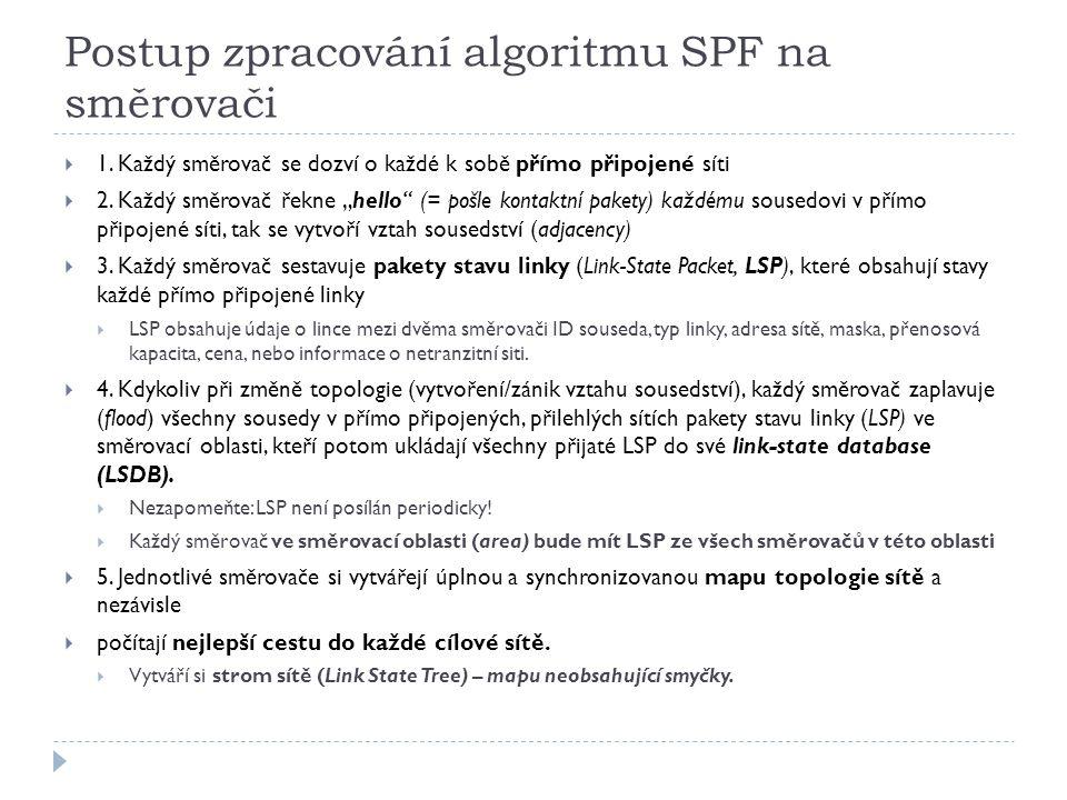 Pojmy OSPF  Link  Rozhraní routeru  Link-state  Vlastnosti rozhraní (IPa+maska, sousedství, metrika)  Link-state ID  Unikátní identifikátor v databázi LSDB pro konkrétní link-state záznam  Router ID  4B číslo jednoznačně identifikuje router v AS (obvykle některá jeho IPa)  Area  Množina směrovačů, které sdílí společné informace o topologii, ale neznají topologii zbytku AS  Area ID je 4B číslo  Každá area musí být spojená s oblastí 0 (backbone)  Hranice oblastí jsou na smerovačích (ne na linkách!)  Link State Advertisement (LSA)  Datová struktura posílaná v paketech OSPF protokolu, která přenáší topologické informace  Není to samostatný paket!
