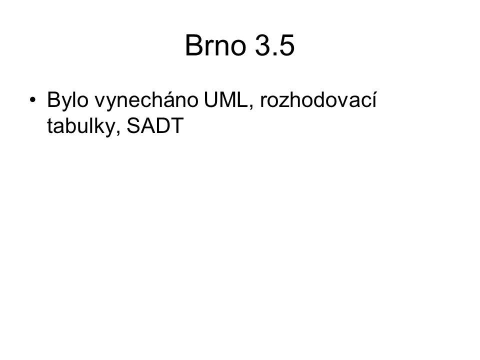 Brno 3.5 Bylo vynecháno UML, rozhodovací tabulky, SADT